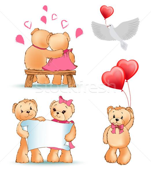 テディベア コレクション 愛 カップル シート ストックフォト © robuart