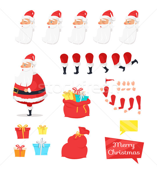 Set of Different Icons for Merry Xmas from Santa Stock photo © robuart