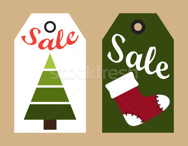 Sale New Year Sock and Tree Vector Illustration Stock photo © robuart