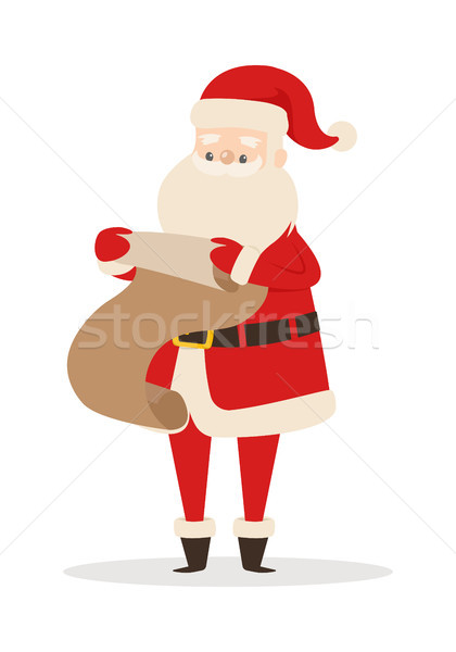 Santa Claus with Wish List Isolated on White. Stock photo © robuart