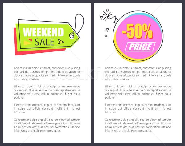 Hétvége vásár nyíl alakú poszter hirdetés Stock fotó © robuart