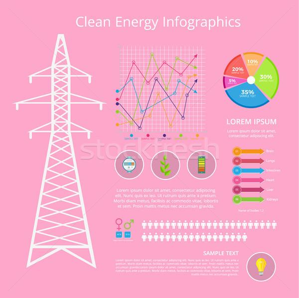 Чистая энергия набор плакат иконки завода Сток-фото © robuart
