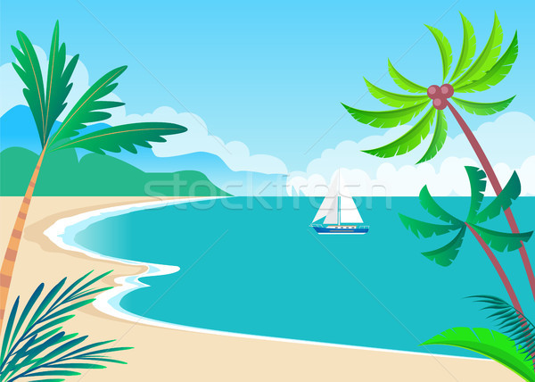 View on Sunny Coast with Palms and Cute Vessel Stock photo © robuart