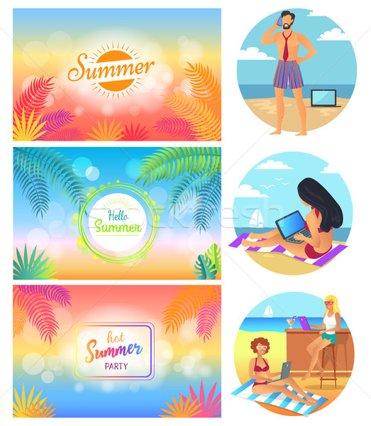 Hello nyár buli szett képek főcímek Stock fotó © robuart