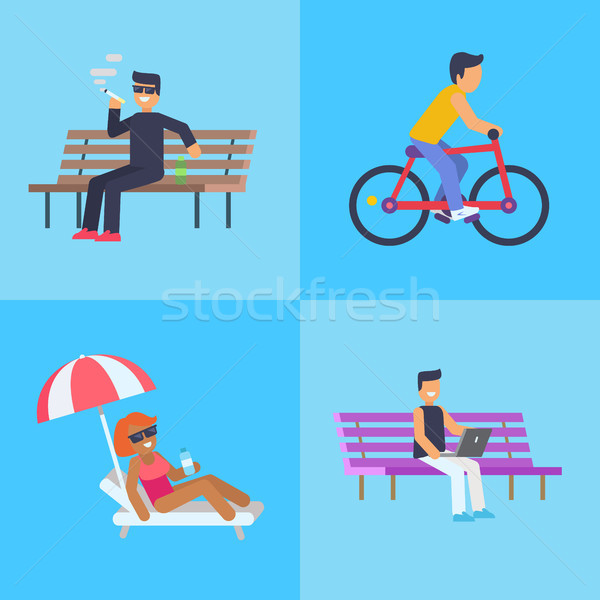 People Activities at Park Vector Illustration Stock photo © robuart