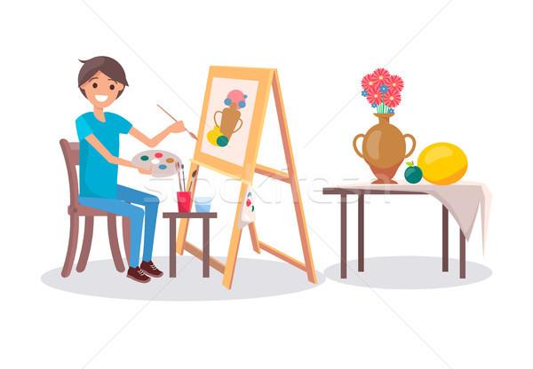 Cheerful Painter at Work, Vector Illustration Stock photo © robuart