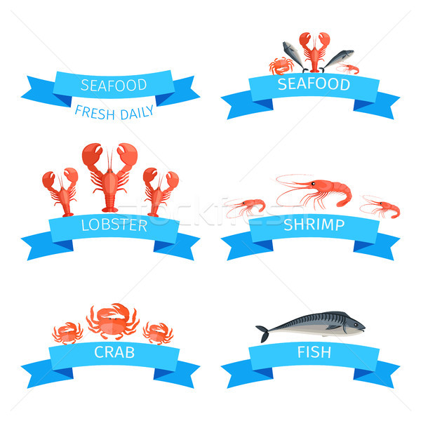 Delicious Fresh Seafood Promotional Emblems Set Stock photo © robuart