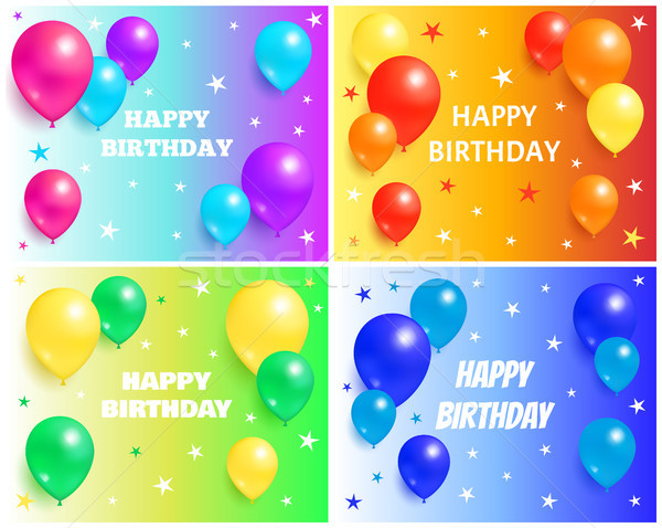 Happy Birthday Backgrounds with Glossy Balloons Stock photo © robuart