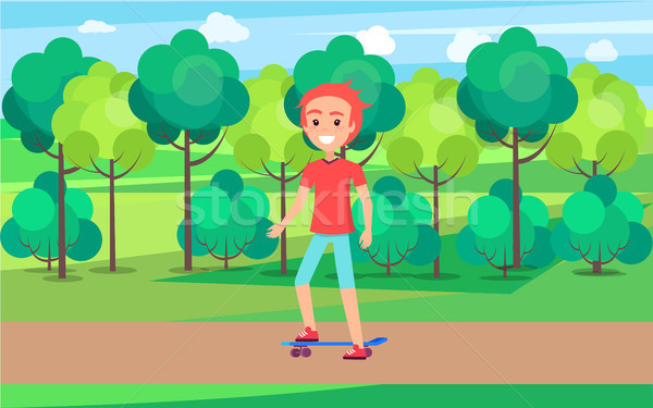 Skateboarder Training in Green Summer Spring Park Stock photo © robuart
