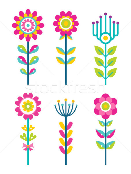Wild Field Flowers in Colorful Ornamental Design Stock photo © robuart