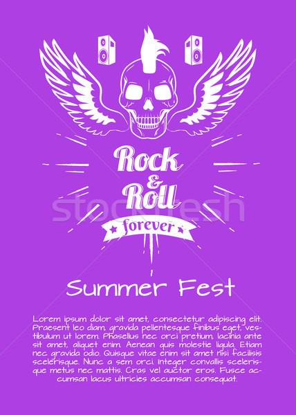 Rock rollen voor altijd zomer kleurrijk poster Stockfoto © robuart