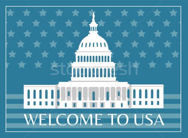 Welcome to USA Poster Headline Vector Illustration Stock photo © robuart