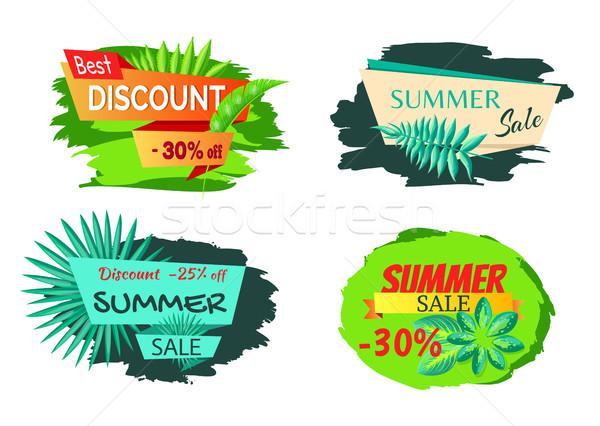 Exótico hojas etiqueta mejor descuento verano Foto stock © robuart