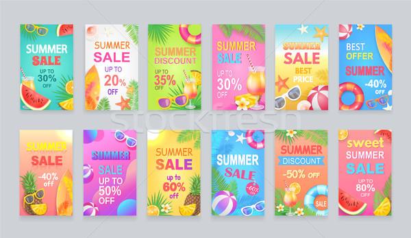 Best Summer Sale Posters Set Vector Illustration Stock photo © robuart
