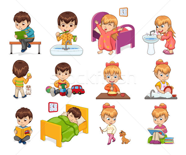 Little Boy and Girl Collection Vector Illustration Stock photo © robuart