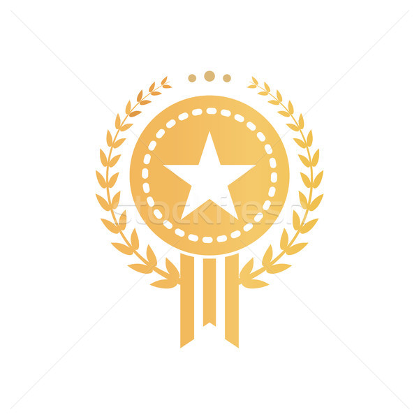 Gold Certificate Sign with Star and Laurel Wreath Stock photo © robuart