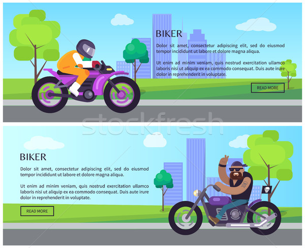 Biker Web Pages Collection Vector Illustration Stock photo © robuart