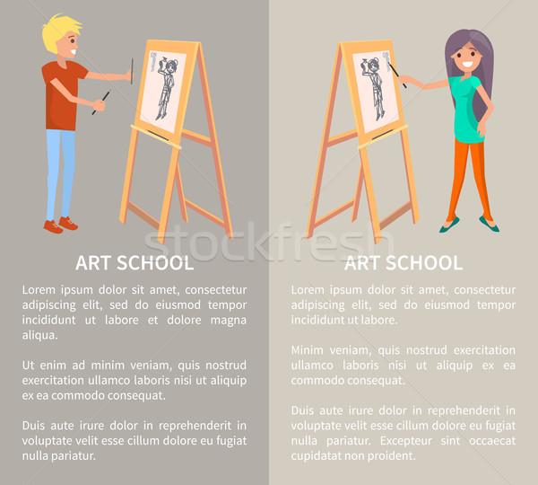 Sztuki szkoły kreatywnych ludzi malarstwo graficzne stylu Zdjęcia stock © robuart