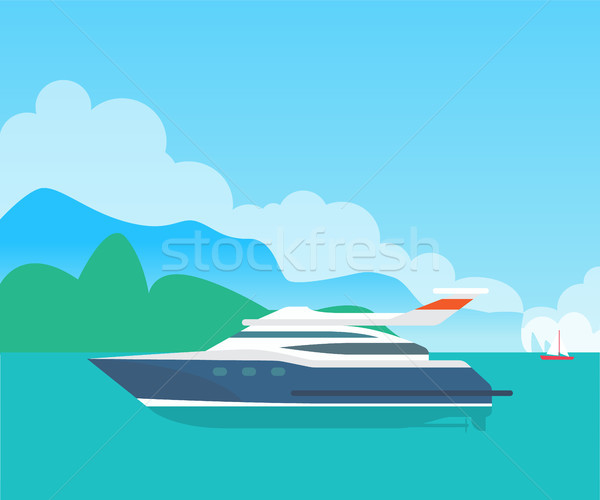 Big Sea Motorboat and Cute Seascape, Color Banner Stock photo © robuart
