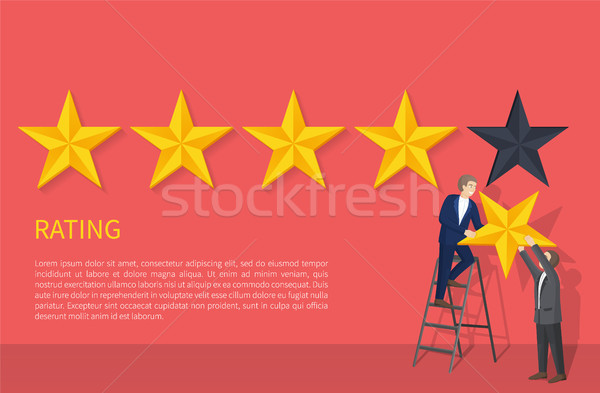 Rating Poster Two Man on Ladder Hanging Fifth Star Stock photo © robuart