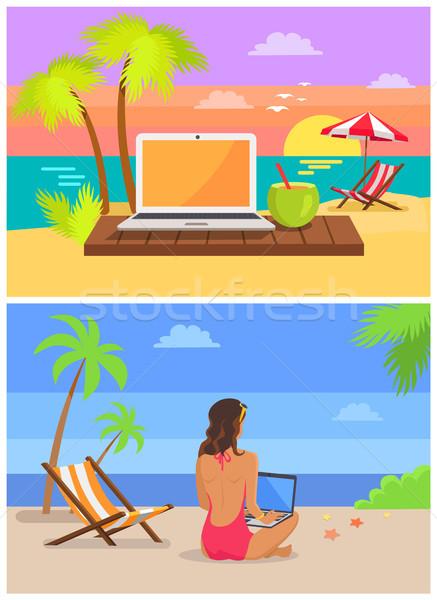 Freelancer laptop ingesteld collectie vrouw vergadering Stockfoto © robuart