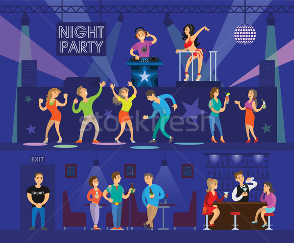 Night Club Party with Modern DJ and Go-Go Dancer Stock photo © robuart