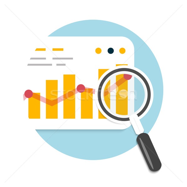 Stock photo: Magnifying glass and chart