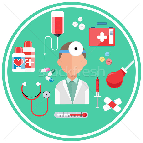 Hospital concept with item icons Stock photo © robuart