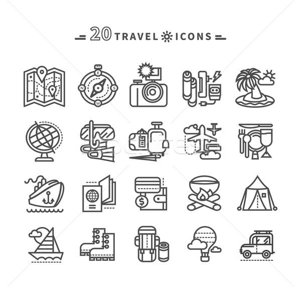 Set of Black Travel Icons on White Background Stock photo © robuart