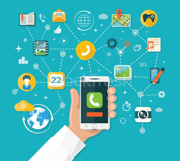 Smartphone design comprimé téléphone portable main Photo stock © robuart