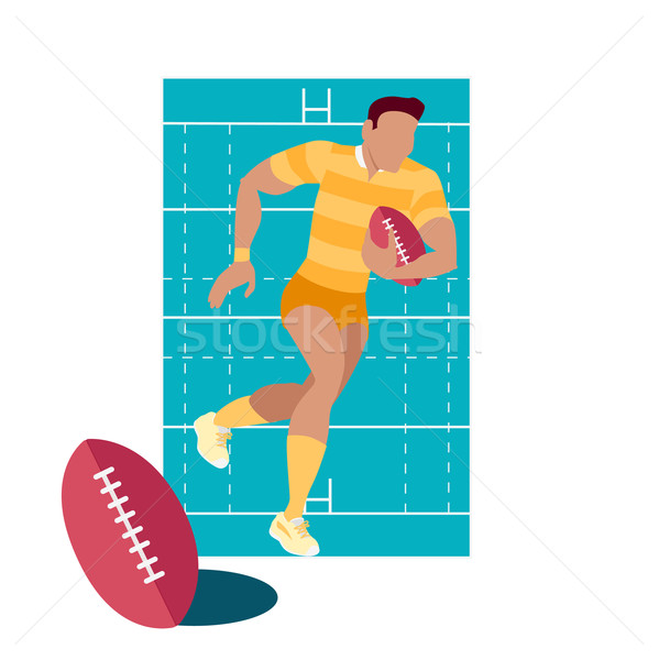 Stock photo: Rugby Sport Concept Icon Flat Design