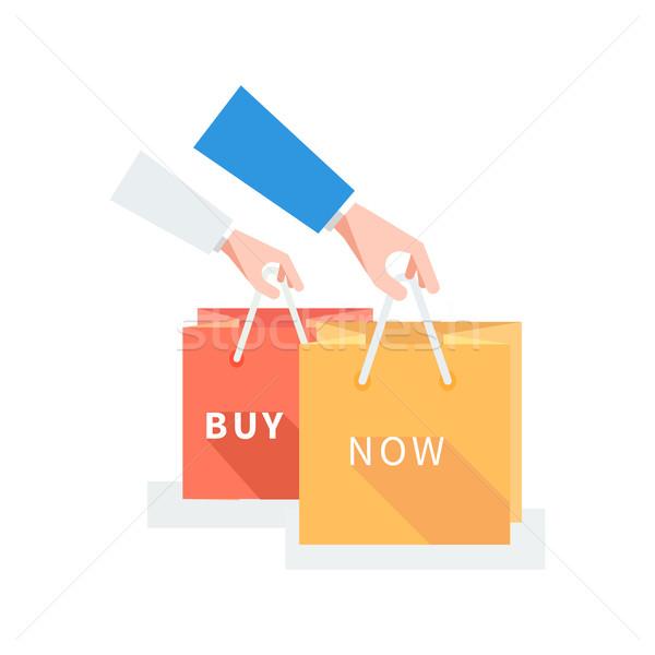 Vásár kitűző vegye meg most terv címke szalag Stock fotó © robuart