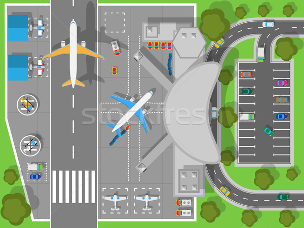 Airport a Top View. Terminal and Aircraft Stock photo © robuart