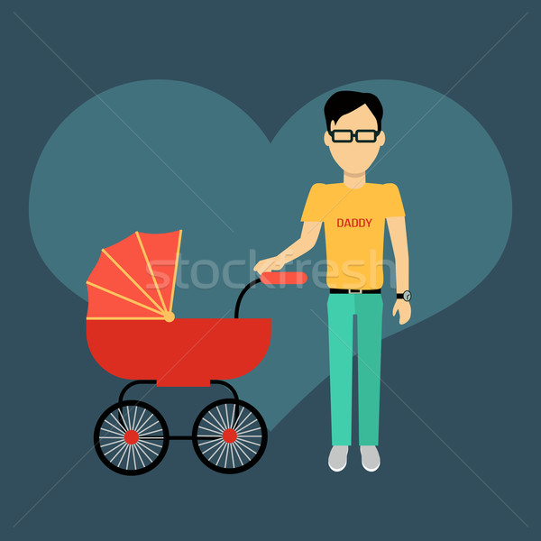 Padre banner diseno padres caminando Foto stock © robuart