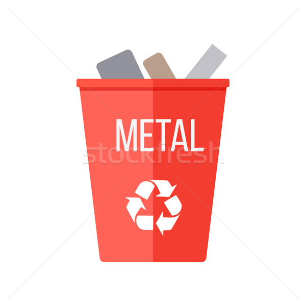 Red Recycle Garbage Bin with Metal. Stock photo © robuart