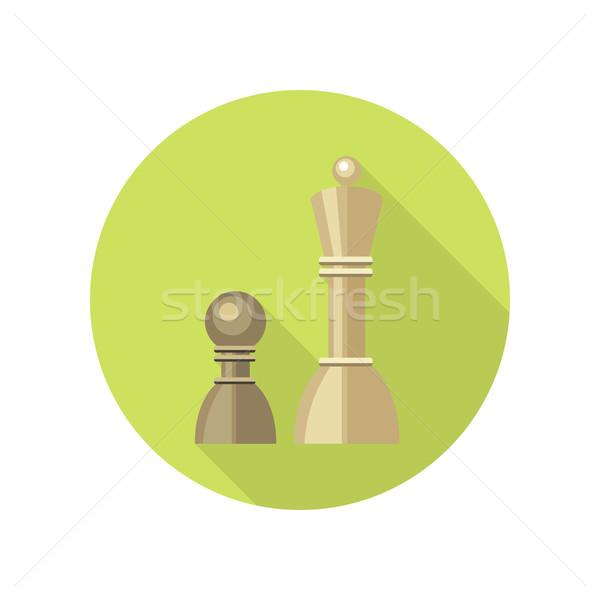 Foto stock: Estratégico · gestão · ícone · dois · xadrez · verde