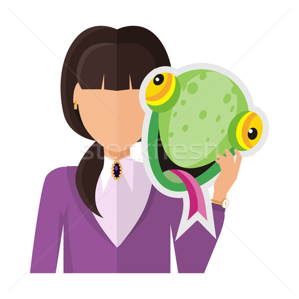 Woman with Chameleon Mask Flat Design Vector  Stock photo © robuart