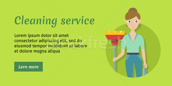 üye temizlik hizmet süpürge kadın personel Stok fotoğraf © robuart