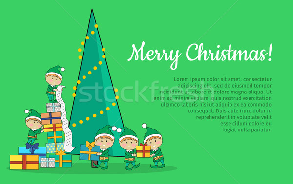 Christmas Elves packing presents near tree Stock photo © robuart