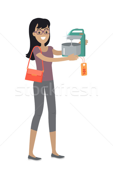 Woman Buys Mixer with Bowl on Sale. Discount Tag Stock photo © robuart