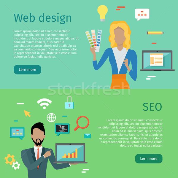веб-дизайна seo Баннеры интернет человека Сток-фото © robuart