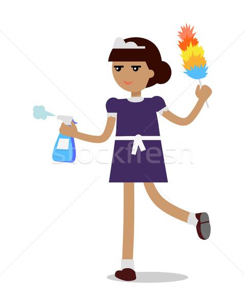 Femme de ménage soubrette uniforme jeune fille femme travail Photo stock © robuart