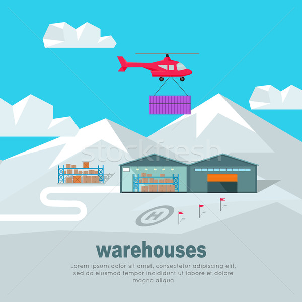 Helicopter Worldwide Warehouse Delivering. Stock photo © robuart