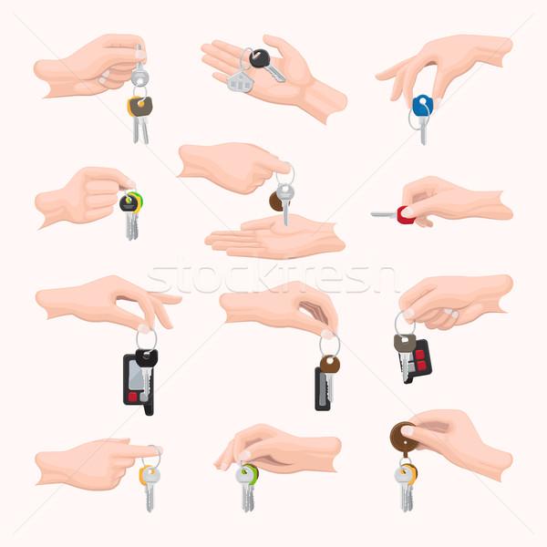 Zestaw ręce klucze inny rozmiar Zdjęcia stock © robuart