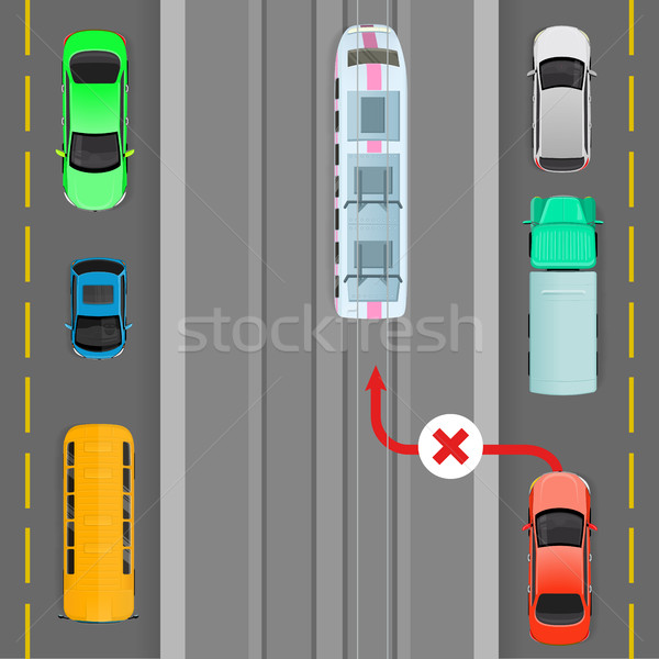 Car Breaks Traffic Rules. Overtaking is Forbidden Stock photo © robuart