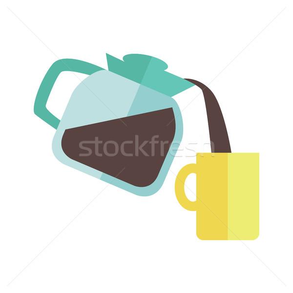 Сток-фото: кофеварка · Кубок · синий · желтый · дизайна · изолированный