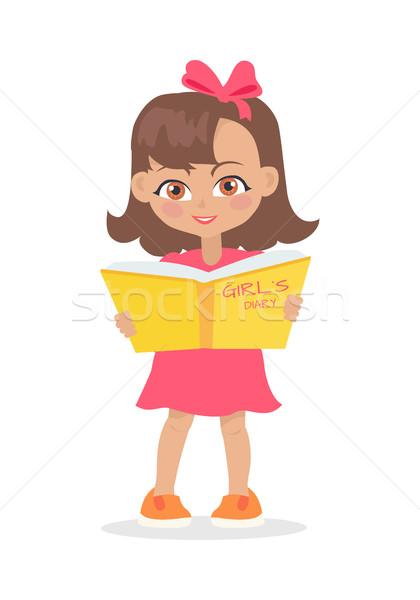Сток-фото: девушки · чтение · девочек · дневнике · книга · изолированный