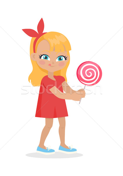 Girl with Long Hair and Red Bow on Head Suck Candy Stock photo © robuart