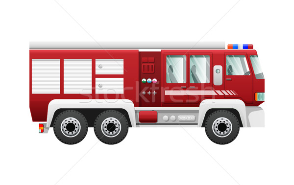 Transport. Isolated Red Fire Truck on Six Wheels Stock photo © robuart