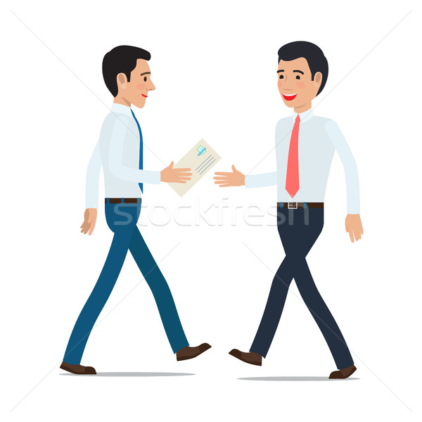 Businessmen Handing Correspondence Flat Vector Stock photo © robuart